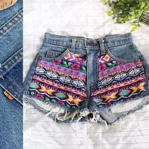 Vintage Levi's high rise colorful denim shorts